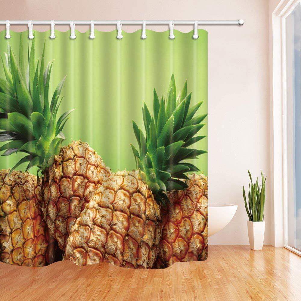 BPBOP Fruit Decor Fresh Pineapple Green Polyester Fabric