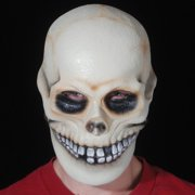 Star Power Realistic Looking Bone Smiley Skull Mask, White, One Size