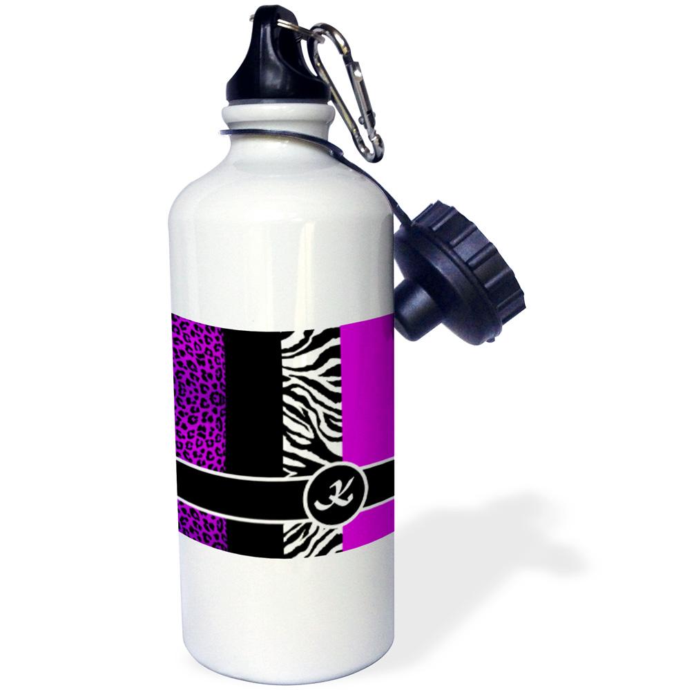 3dRose Elegant Animal Print Monogram - Purple K, Sports Water Bottle, 21oz