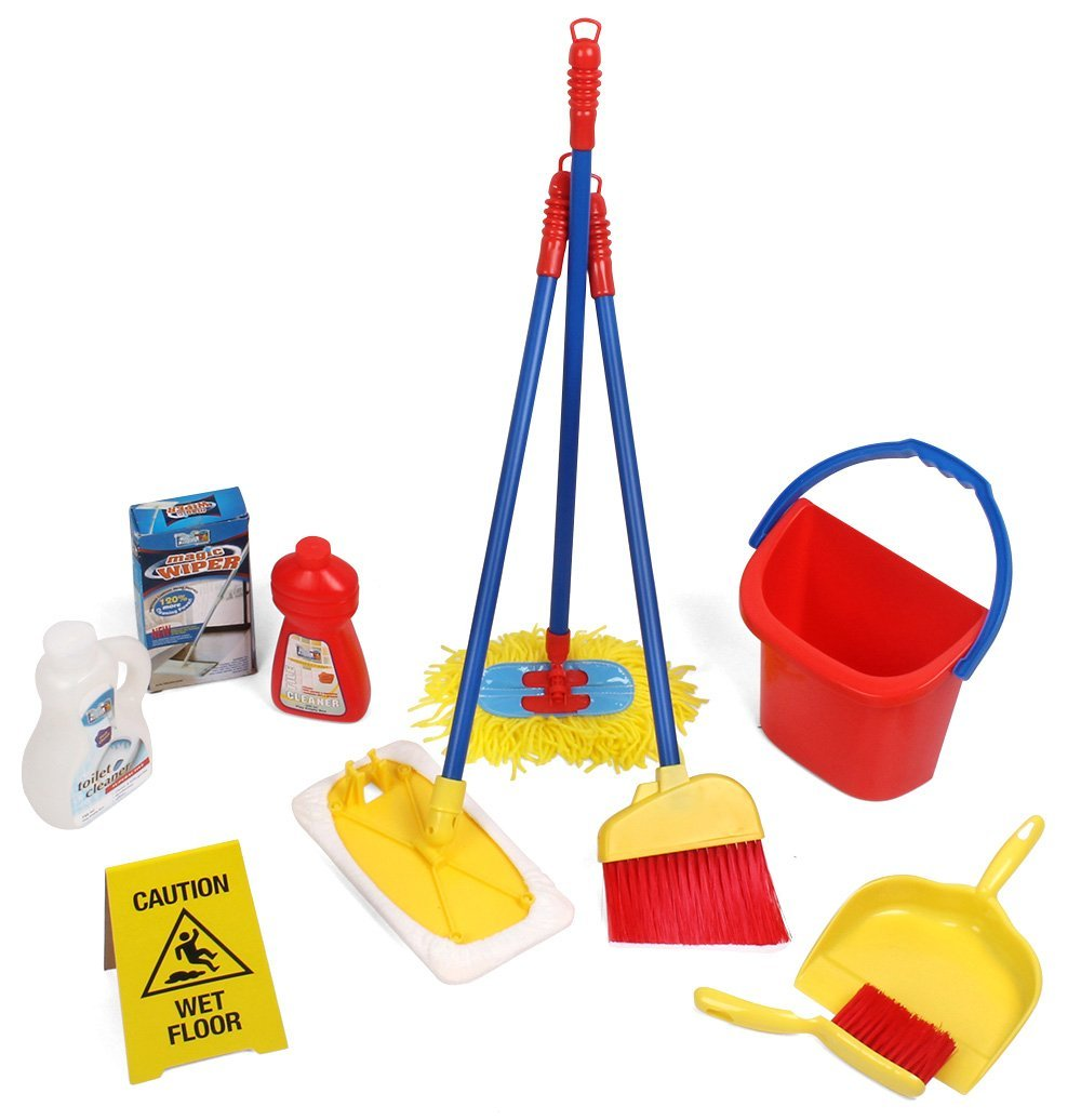 10 Piece Kids Pretend Play Cleaning Set, Water Bucket, Cl...
