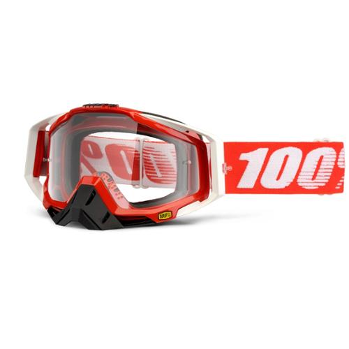 100% Racecraft Goggles Fire Red Frame Clear Lens Red/White Strap