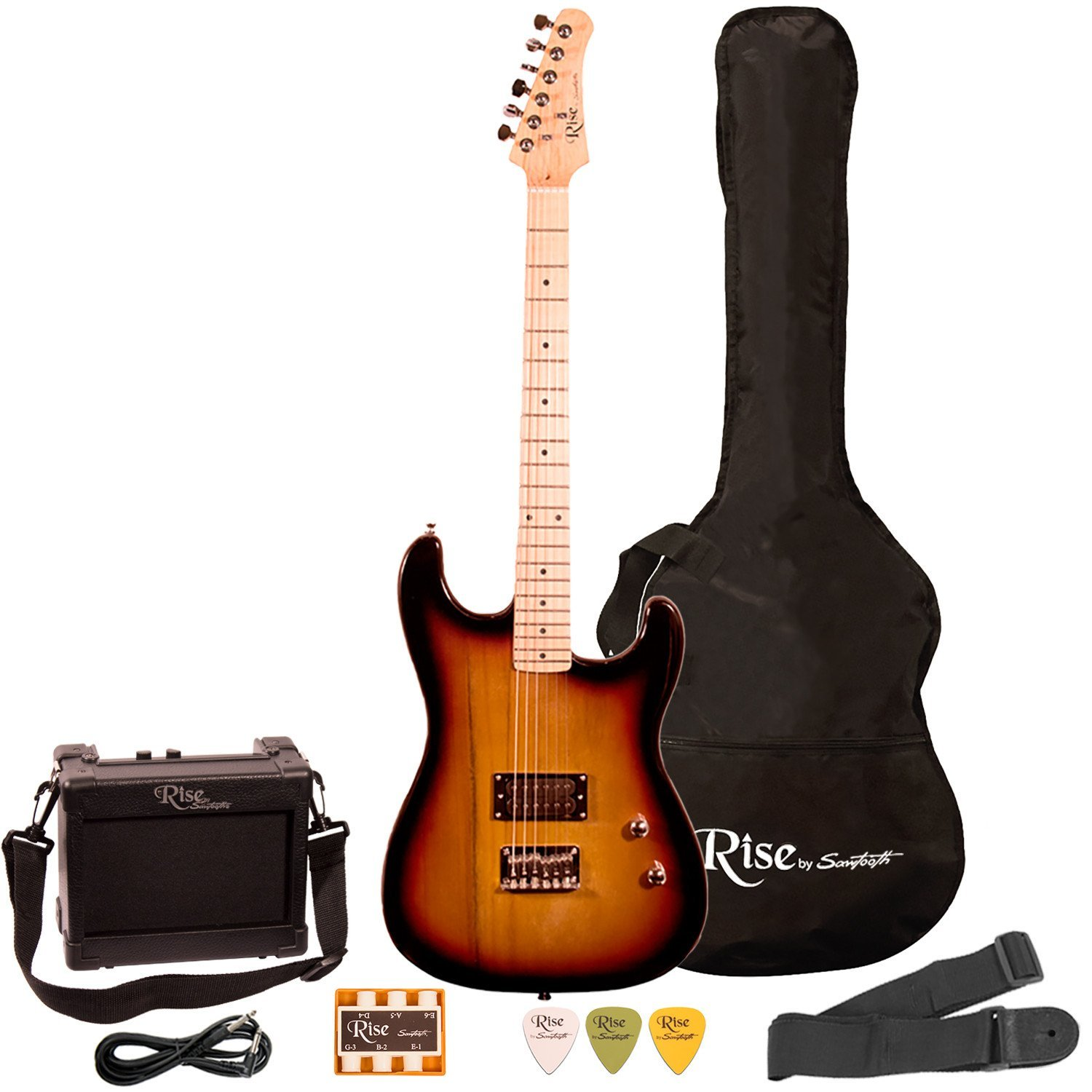 Rise by Sawtooth Right-Handed Full Size Beginner's Electric Guitar with Gig Bag &... by Sawtooth