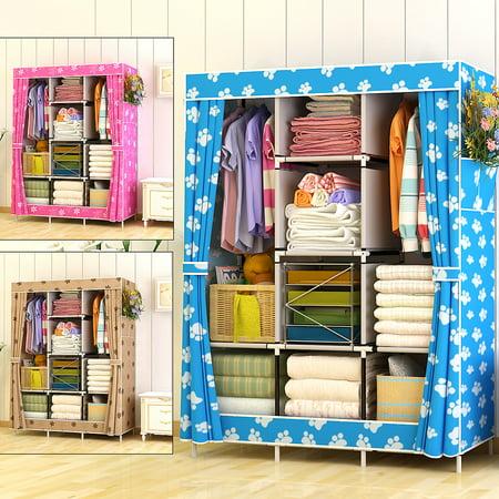 Extra Large Wood Rack - Extra Large Portable Closet Storage Fabric Wardrobe Colthes Organizer Rack Shelf Shoe Rack with 4 Shelves