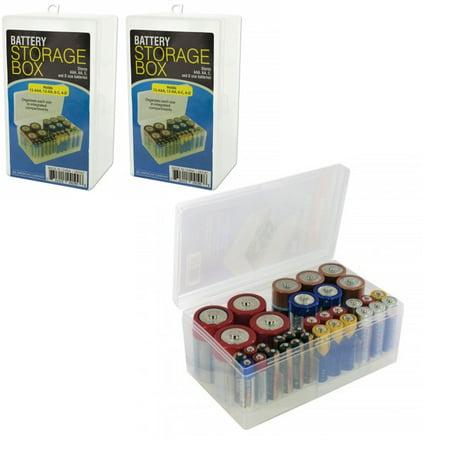 2 Battery Storage Box Rack Holder Case Organizer Holds 68 AA AAA C D Sizes