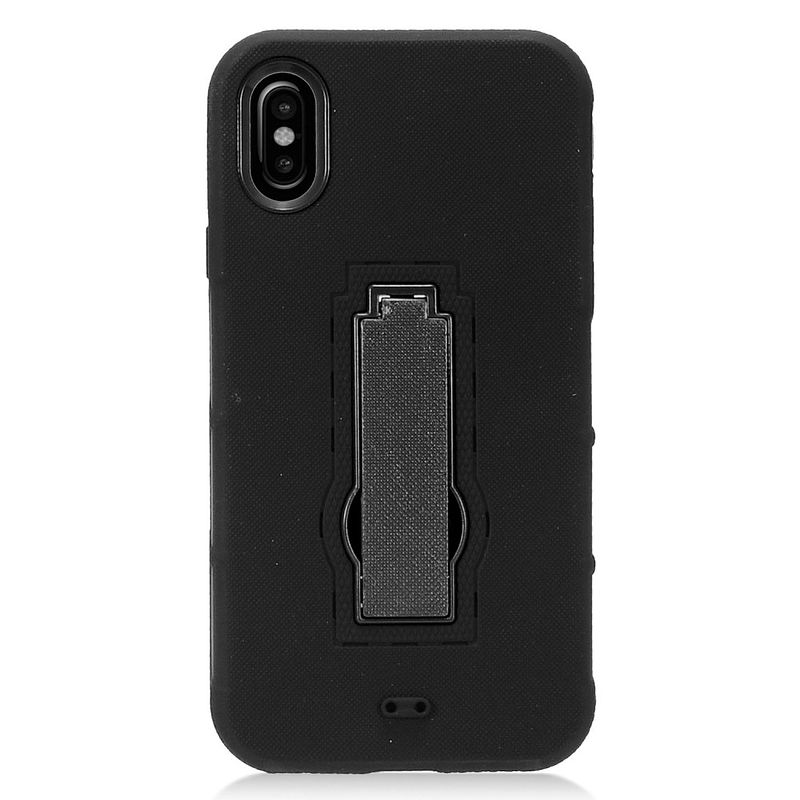 iPhone X Case with Anti Spy Privacy Tempered Glass Screen Protector, by Insten Symbiosis Dual Layer Hybrid Stand Rubber Silicone/PC Case Cover for Apple iPhone X - Black - image 2 of 3