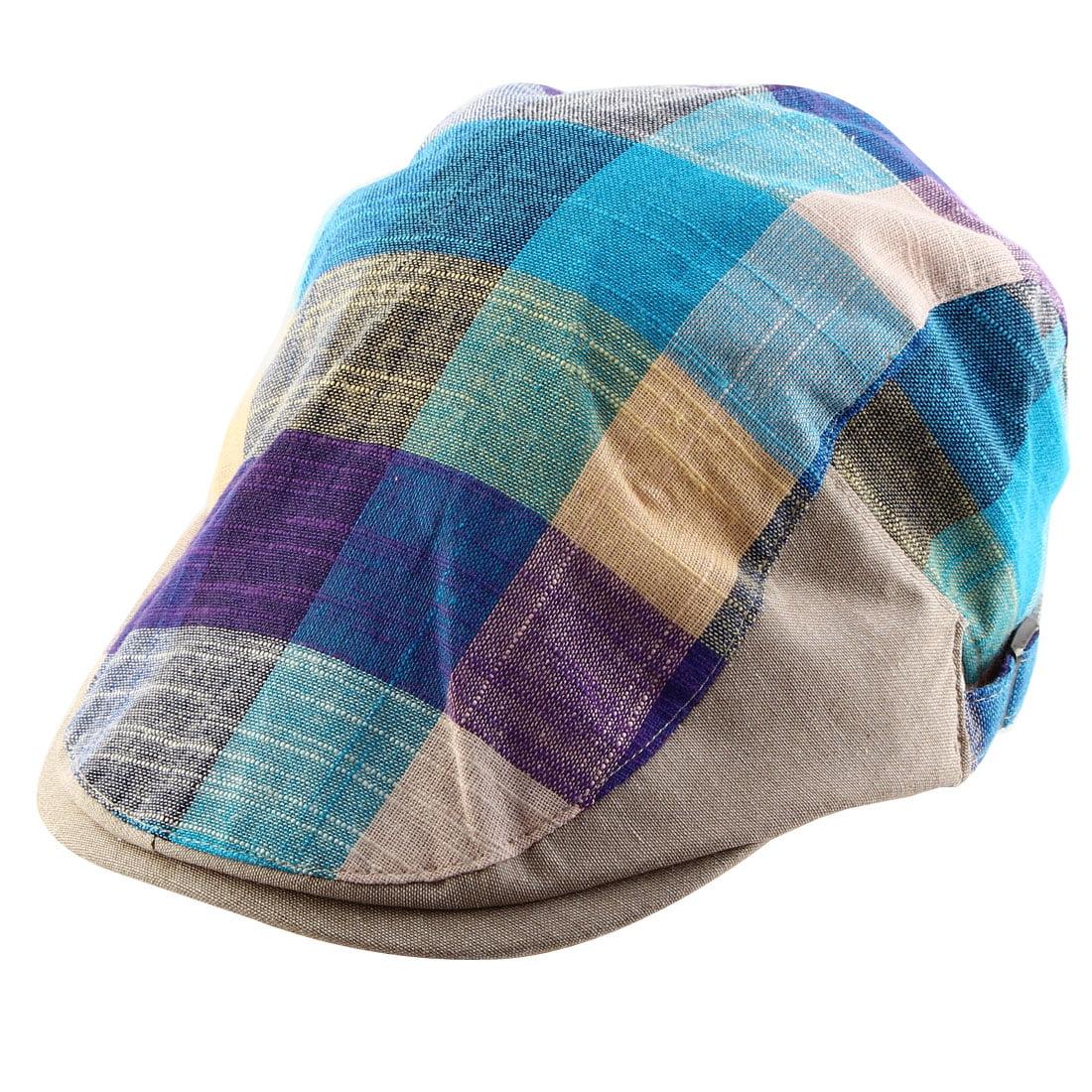 d82428c82e6e7 Men Women Plaid Pattern Summer Sun Newsboy Duckbill Ivy Cap Cabbie Driving  Golf Casual Flat Beret Hat Tricolor
