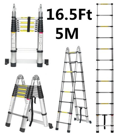 16.5Ft/14.5ft/12.5Ft Aluminum Multi-Purpose Folding Ladder, Telescopic Ladder Non-Slip with 2 Foot Pad& 2 free Wrenches, 330lbs Load Capacity