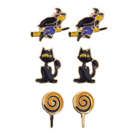 Lux Accessories Halloween Witch Broomstick Cat Lollipop Stud Earring Set 3pc](Halloween Broomstick Snack)
