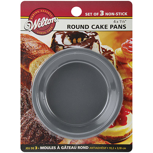 "Wilton 4""x1.25"" Mini Cake Pans, Round 3 ct. 2105-1829"