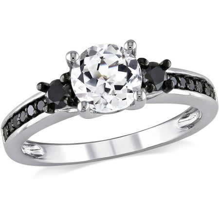 1 3 8 Carat T G W  Created White Sapphire And 1 3 Carat T W  Black Diamond Sterling Silver Three Stone Engagement Ring