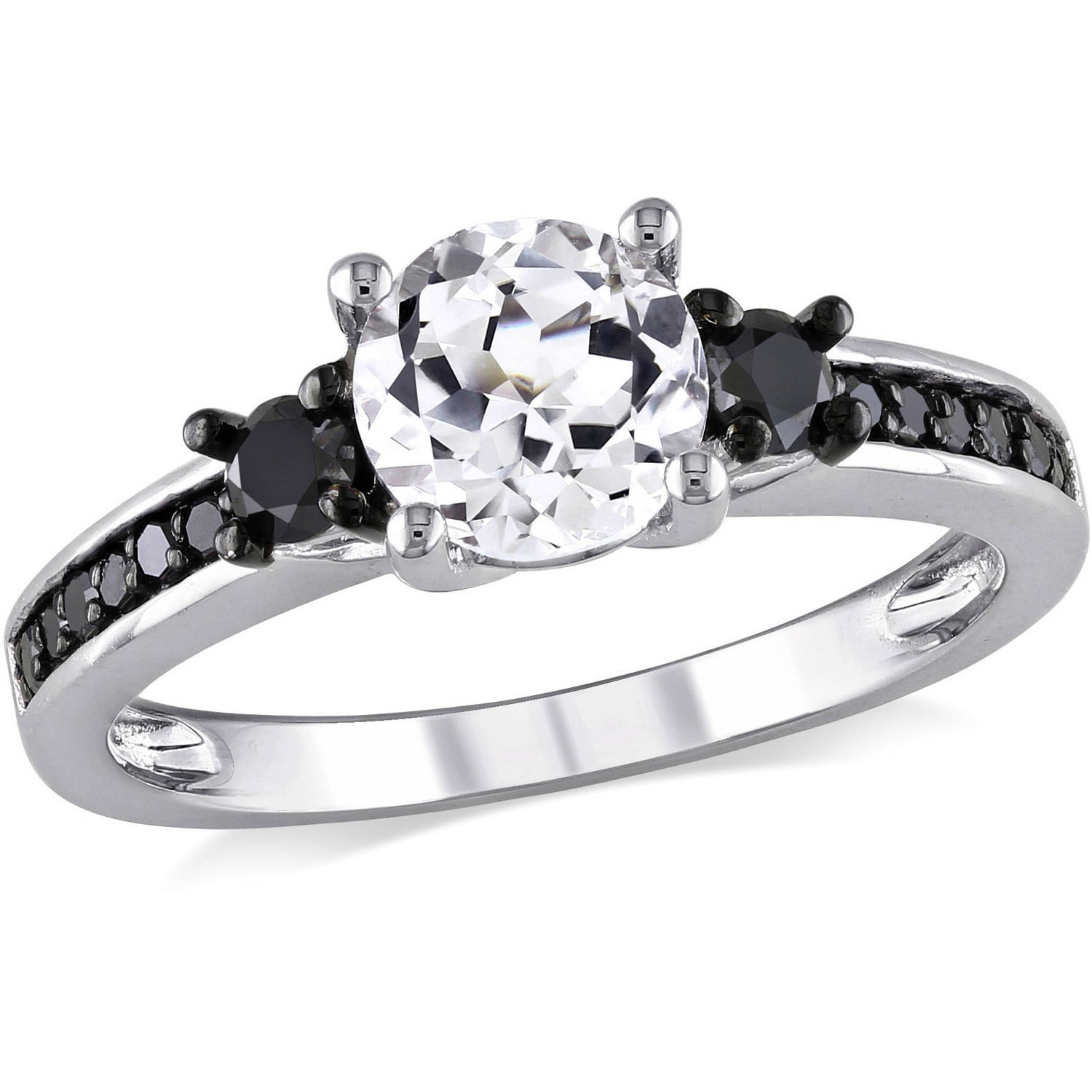 Asteria 1-3/8 Carat T.G.W. Created White Sapphire and 1/3 Carat T.W. Black Diamond Sterling Silver Three-Stone Engagement Ring