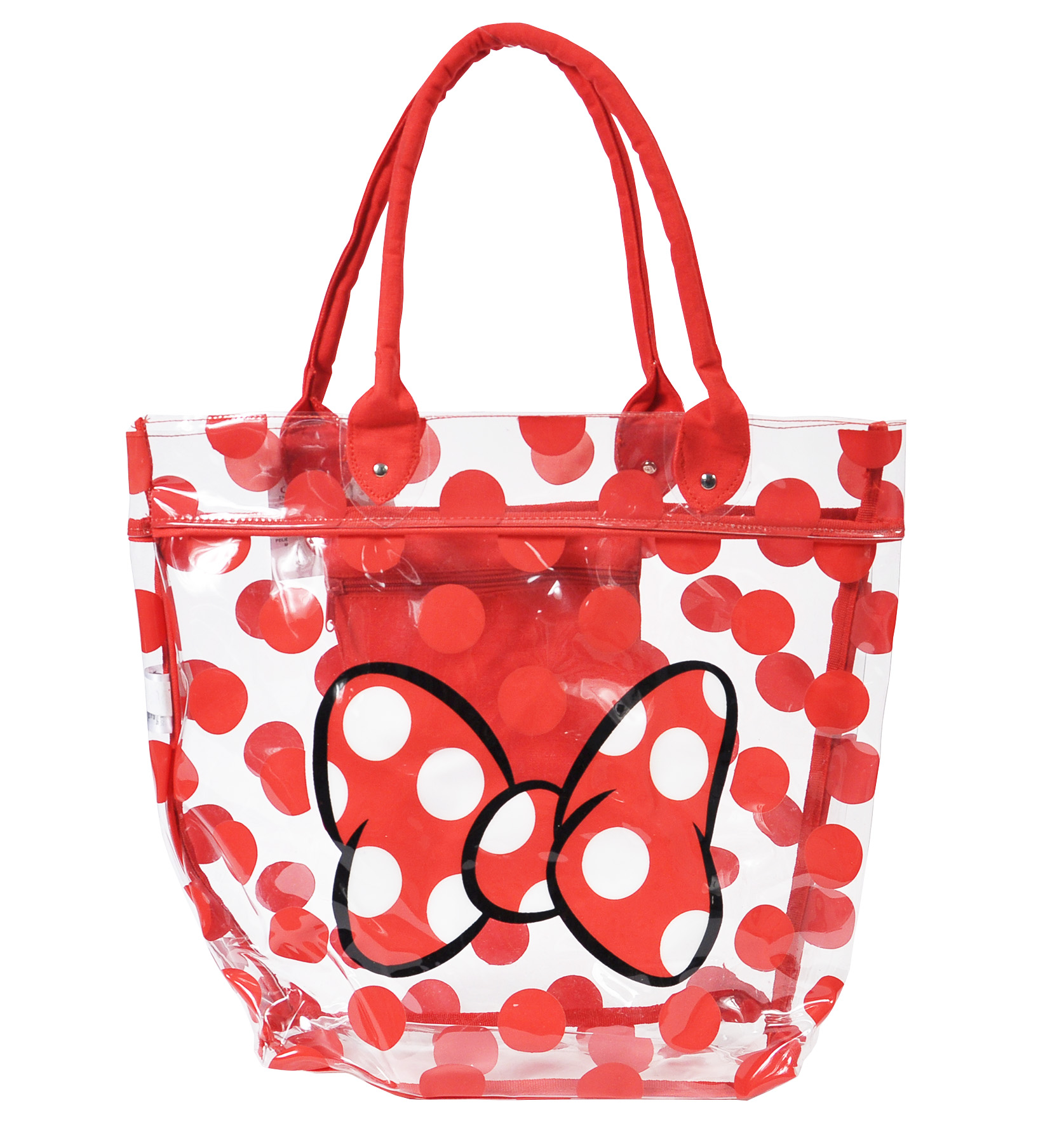 Disney Minnie Mouse Beach Bag Red Polka Dot Bow Tote Plastic Clear ...
