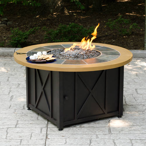 Round LP Gas Fire Pit Bowl with Slate and Faux Wood Mantel