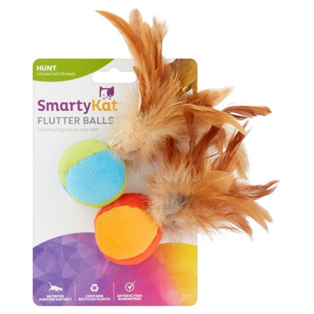 SmartyKat Flutter Balls Catnip and Feather Cat Toy, 2 Count