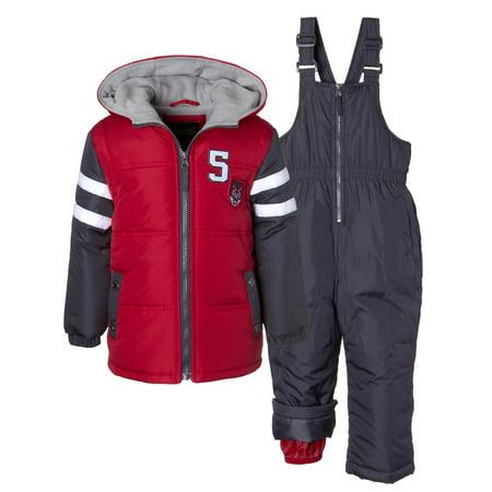 Varsity Puffer Jacket Coat & Snowpants Ski Bib, 2pc Snowsuit Set (Baby Boys & Toddler - Varsity Jacket For Kids