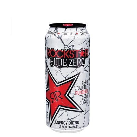 Green Tea Energy Drink - (24 Cans) Rockstar Pure Zero Punched Energy Drink, 16 oz Cans