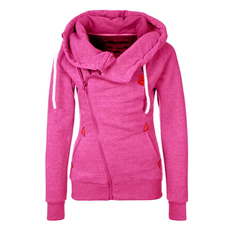 Sleeve Funnel Neck Jacket - Black Friday Clearance! Rosered Long Sleeve Hoodies Sweatshirt Tops Blouse Jumper Coat for Women, Womens Pullover Tops Gift for Women, Juniors Pocket Pullover Tops with Trendy Solid Funnel Neck, S-2XL
