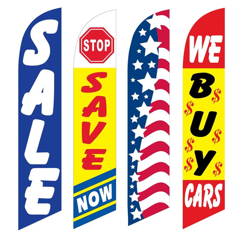 4 Advertising Swooper Flags Sale Stop Save Now Patriotic We Buy Cars