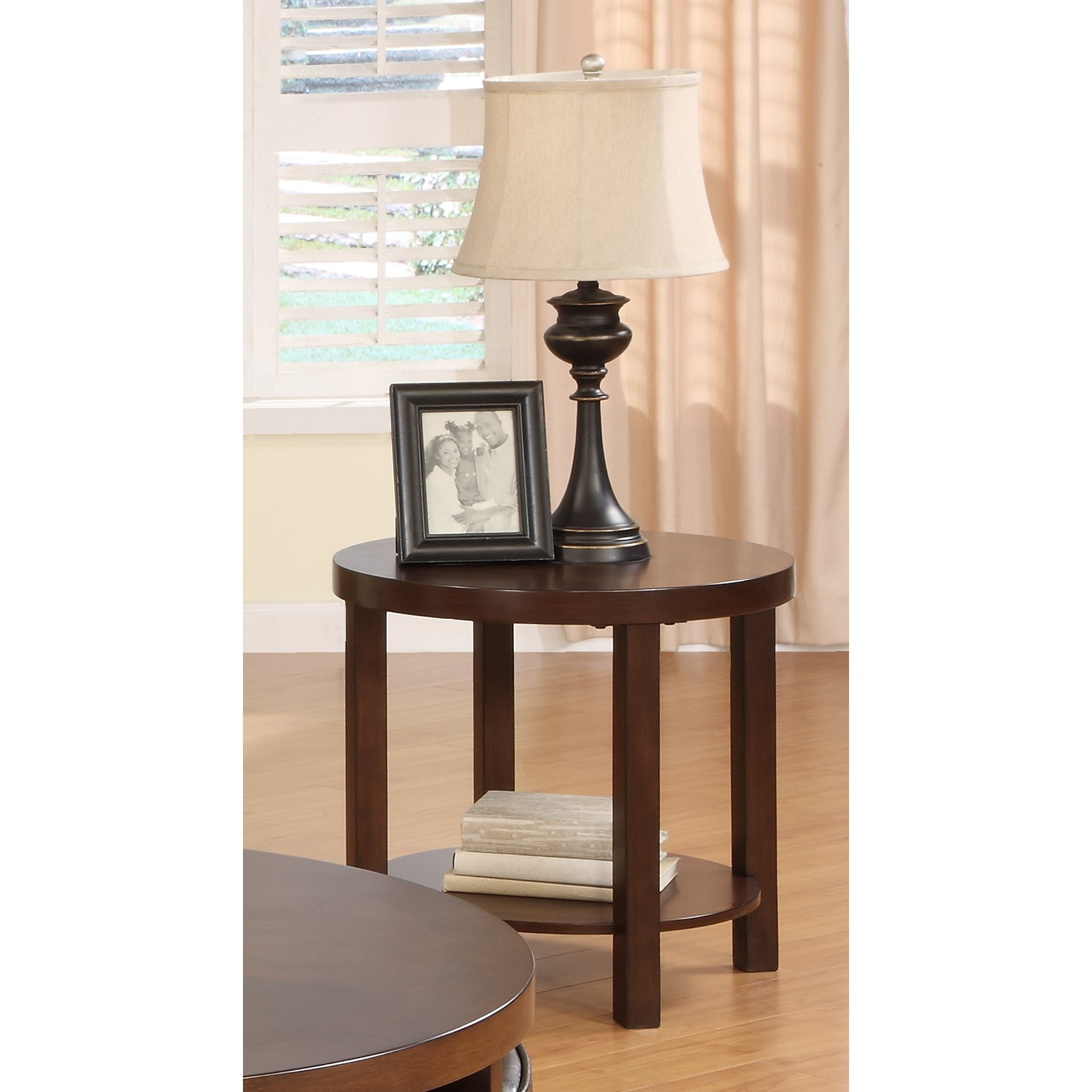 Weston Home Brussel II Round Brown Cherry Wood End Table