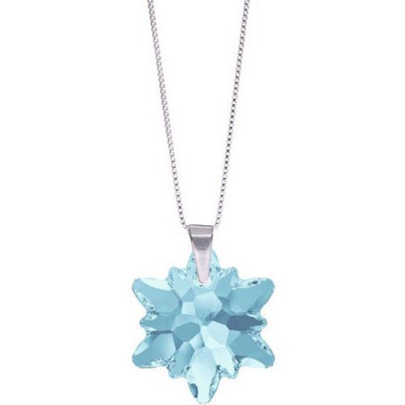 Pori Jewelers Genuine Swarovski Edelweiss Aquamarine Crystal Sterling Silver Pendant Chain Necklace