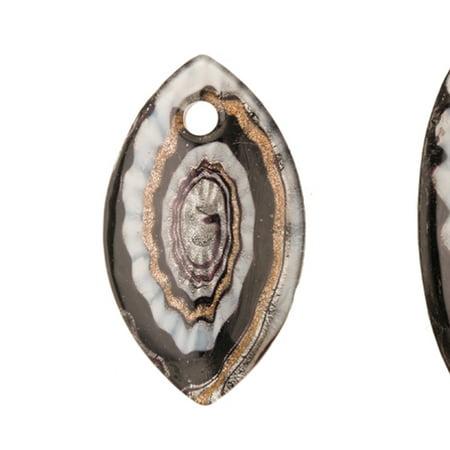 Wavy Swirl Design Black Base Marquise Lampwork Glass Pendant (Black Swirl Glass)