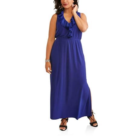 Women's Plus Sleeveless Ruffle Front Dress