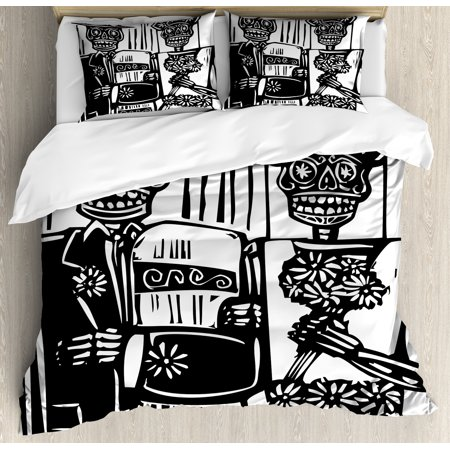 Day of the Dead King Size Duvet Cover Set, Woodcut Style Skeleton Couple Wedding in Cemetery Image with Bride Groom, Decorative 3 Piece Bedding Set with 2 Pillow Shams, Black - Item For Skeleton King