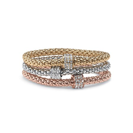 Crystal Beaded Tri-Tone Stretch Rope Bracelet Set in Gold Tone, Rose Gold-Plate and Silvertone (Hematite Tone Crystal)