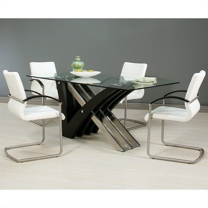 Pastel Furniture Akasha 5 Piece Glass Top Dining Table Set in Steel and Walnut by Pastel Furniture