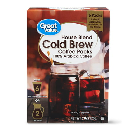 Great Value Cold Brew Coffee Packs, House Blend, 6 oz, 6