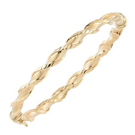 "10k Yellow Gold Twisted Women's Bangle Bracelet, 7.75"""