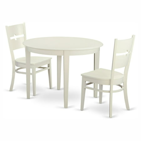 East West Furniture Boston 3 Piece Round Dining Table Set with Rockville Wooden Seat Chairs