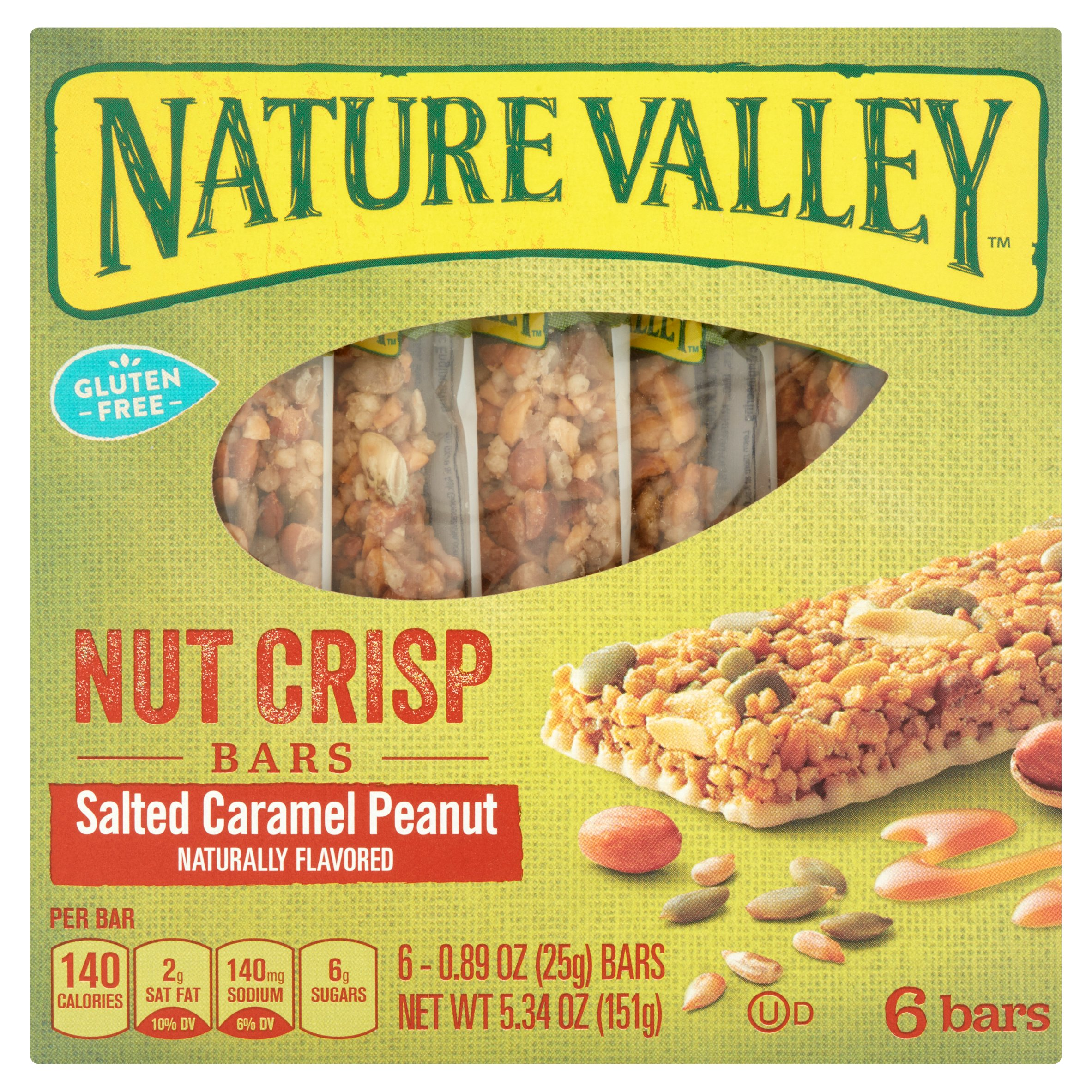 Nature Valley Salted Caramel Peanut Nut Crisp Bars, 0.89 oz, 6 count