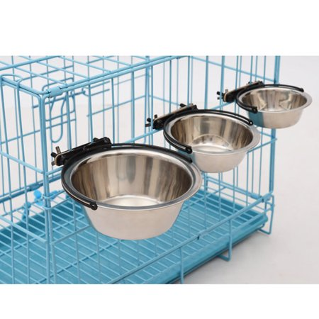 21cm Stainless Steel Pet Bowl Cat Dog Cage Hanging Feeding Watering Bowl - image 1 of 8