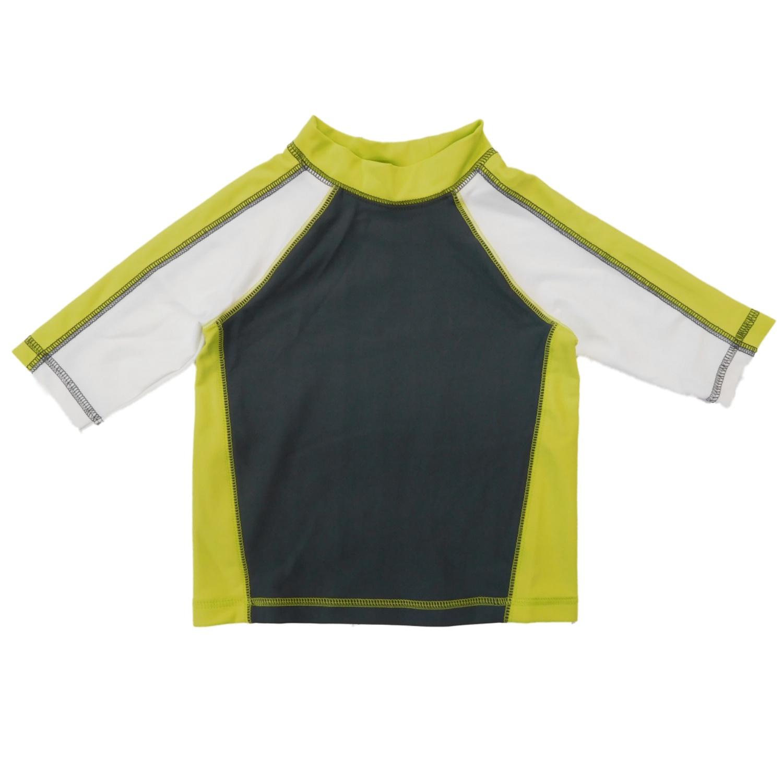 Infant & Toddler Boys Gray/Lime/White Rash Guard Swim Shirt
