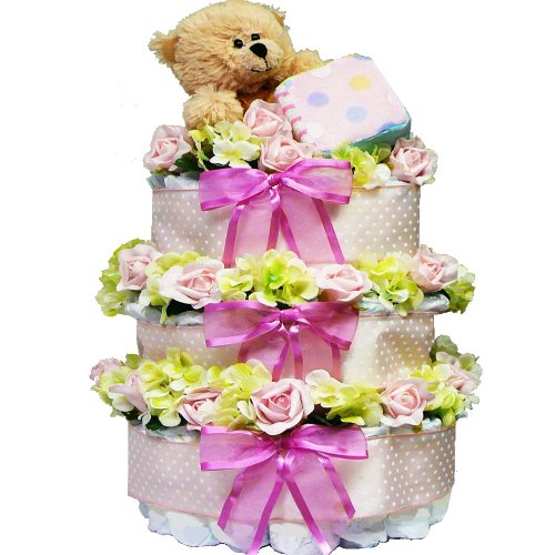 Sweet Baby Diaper Cake Gift Tower with Teddy Bear - Pink Girl