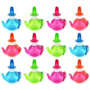 Set of 12 Teapot Kettle Toy Bubble Bottle Necklaces w/ Integrated Whistle (Colors May Vary)