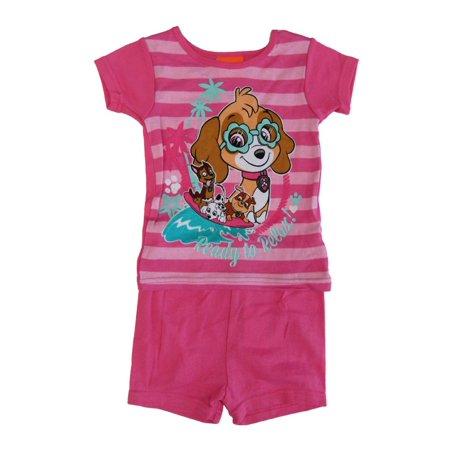 Nickelodeon Little Girls Fuchsia Paw Patrol Short Sleeve 2 Pcs Pajama - Boutique Pajamas