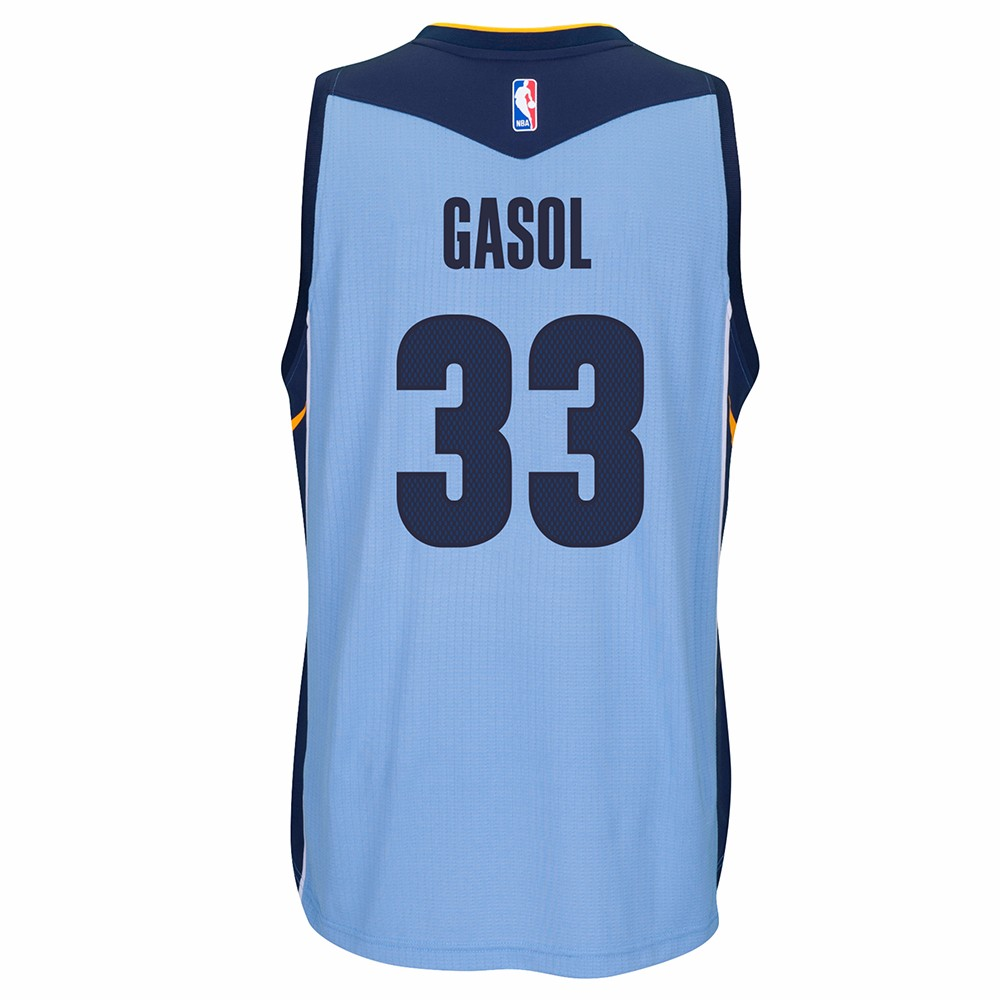 Marc Gasol Memphis Grizzlies NBA Adidas Blue Official Climacool Away Road Swingman Jersey For Men