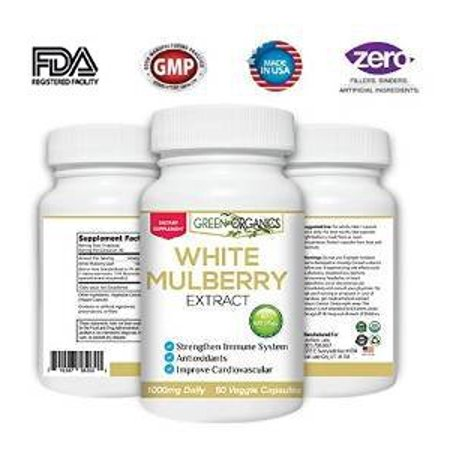 Pure White Mulberry Leaf Extract - Premium 1000mg - Natural Blood Sugar Stabilizing & Weight Loss Support Supplement - Antioxidant Rich & High In Fiber and