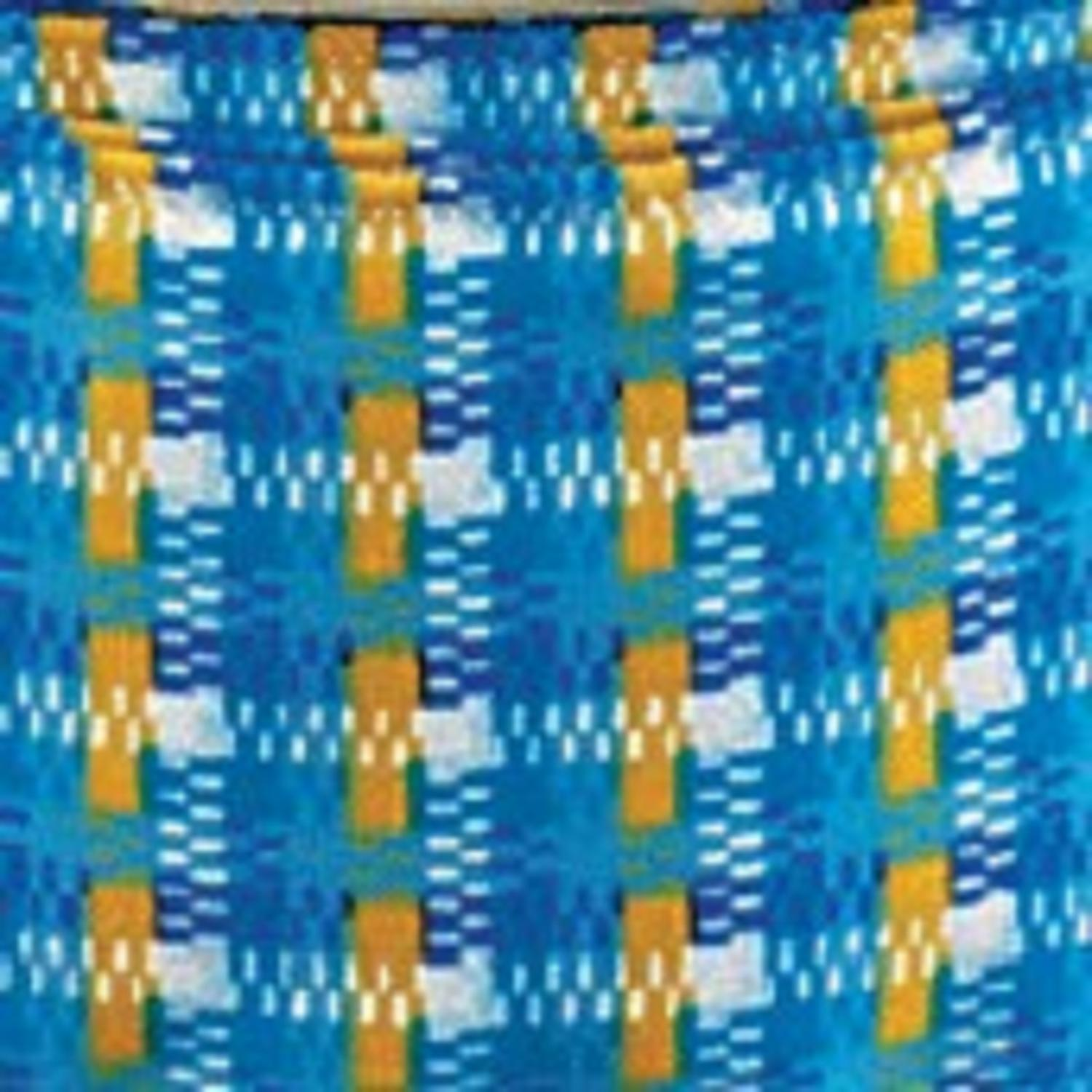"Cotton Summer Weave Blue and Yellow Wired Craft Ribbon 1"" x 40 Yards"