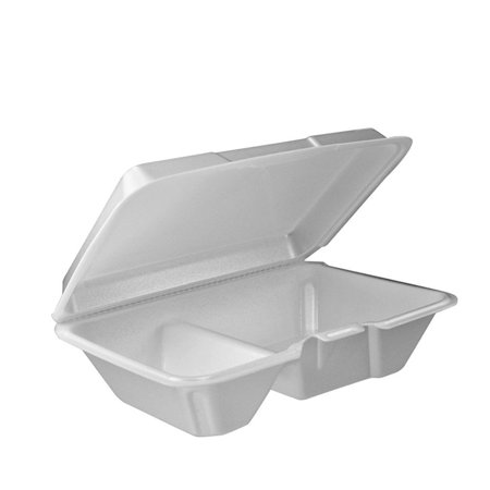 Compartment Foam Hinged Lid - Dart 205HT2, 9x6x3-Inch Performer White Two Compartment Foam Container with a Removable Hinged Lid, Carryout Food Disposable Containers (50)
