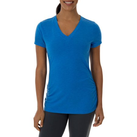 Athletic Works Womens Core Active Vneck Short Sleeve Shirred T Shirt