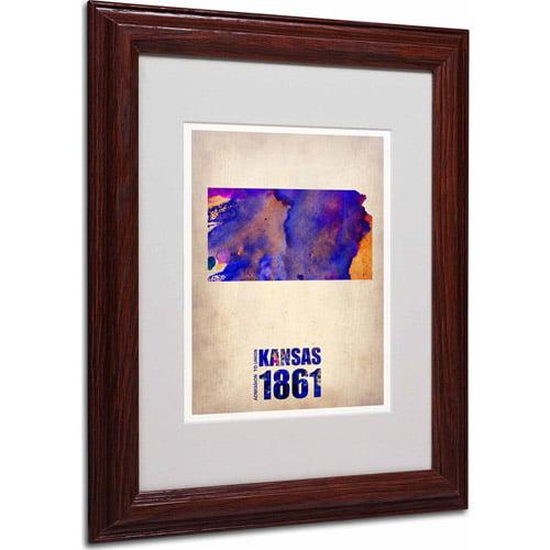 """Trademark Fine Art """"Kansas Watercolor Map"""" Matted Framed Art by Naxart, Wood Frame"""
