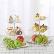 3 Tier Cake Stand Fruit Tray Cupcake Stand Vegetable Storage Rack Candy Plate Dessert Stand Tray Party Food Server Display Set