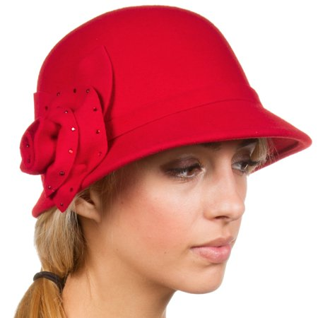 Sakkas Jewel Vintage Style Wool Cloche Bell Hat - Red - One
