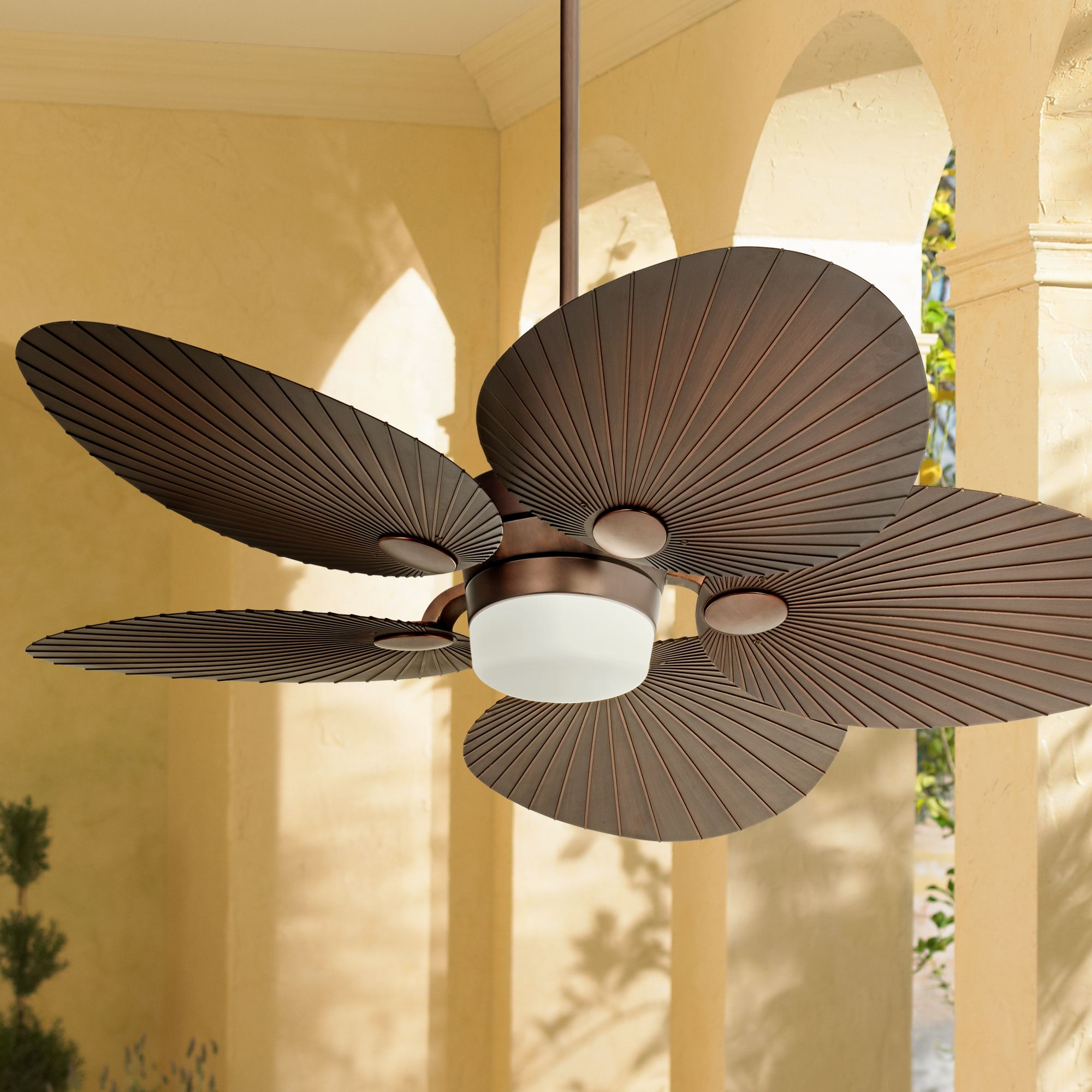 """52"""" Casa Vieja Tropical Outdoor Ceiling Fan with Light LED Remote Control Oil Brushed Bronze Palm Leaf Damp Rated for Patio Porch"""