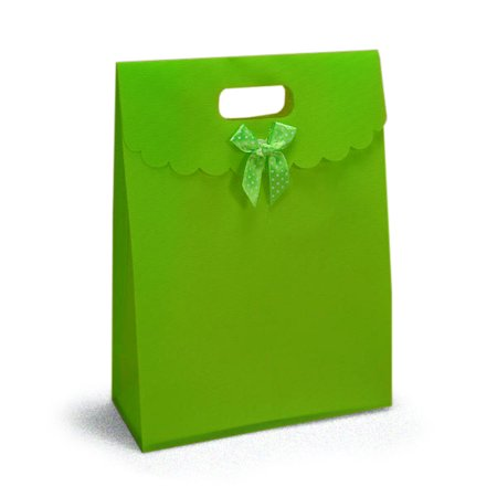 Lime Green Tab Top Gift Bags | Quantity: 25 | Width: 7 1/2