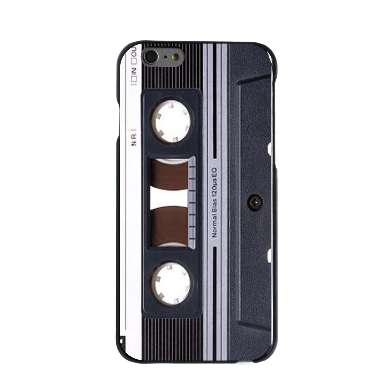"""CUSTOM Black Hard Plastic Snap-On Case for Apple iPhone 6 / 6S (4.7"""" Screen) - Audio Cassette Tape"""