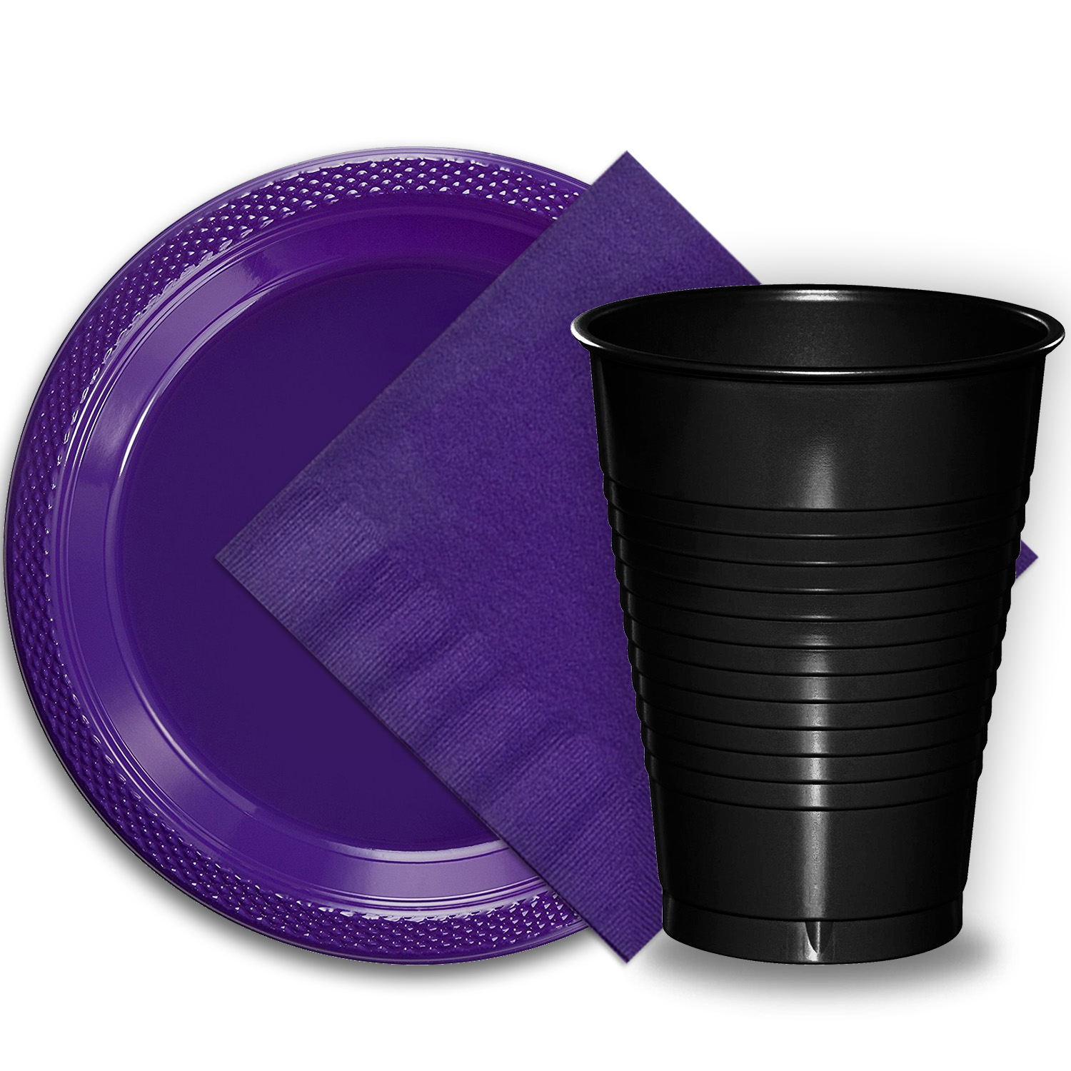 """50 Purple Plastic Plates (9""""), 50 Black Plastic Cups (12 oz.), and 50 Purple Paper Napkins, Dazzelling Colored Disposable Party Supplies Tableware Set for Fifty Guests."""